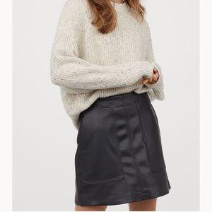 H&M Black Leather Mini Skirt NWT